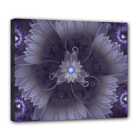 Amazing Fractal Triskelion Purple Passion Flower Deluxe Canvas 24  X 20   by jayaprime
