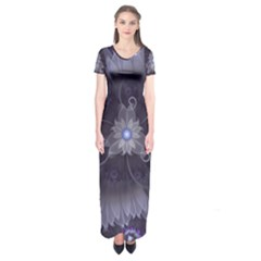 Amazing Fractal Triskelion Purple Passion Flower Short Sleeve Maxi Dress by jayaprime