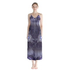 Amazing Fractal Triskelion Purple Passion Flower Button Up Chiffon Maxi Dress by jayaprime