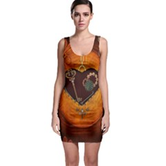 Steampunk, Heart With Gears, Dragonfly And Clocks Sleeveless Bodycon Dress by FantasyWorld7