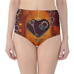 Steampunk, Heart With Gears, Dragonfly And Clocks High-waist Bikini Bottoms by FantasyWorld7