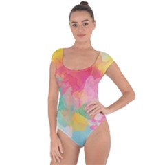 Pastel Watercolors Canvas                   Short Sleeve Leotard