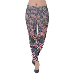 Repetition Retro Wallpaper Stripes Velvet Leggings
