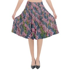 Repetition Retro Wallpaper Stripes Flared Midi Skirt by BangZart