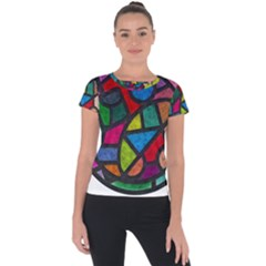 Stained Glass Color Texture Sacra Short Sleeve Sports Top  by BangZart