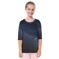Cosmos Dark Hd Wallpaper Milky Way Kids  Quarter Sleeve Raglan Tee by BangZart