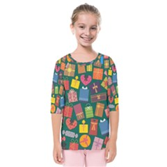 Presents Gifts Background Colorful Kids  Quarter Sleeve Raglan Tee
