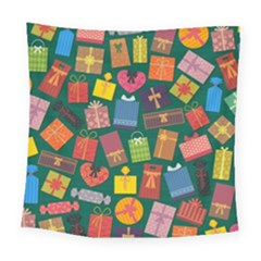 Presents Gifts Background Colorful Square Tapestry (large) by BangZart