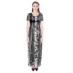 Birch Forest Trees Wood Natural Short Sleeve Maxi Dress