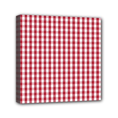 Usa Flag Red Blood Large Gingham Check Mini Canvas 6  X 6  by PodArtist