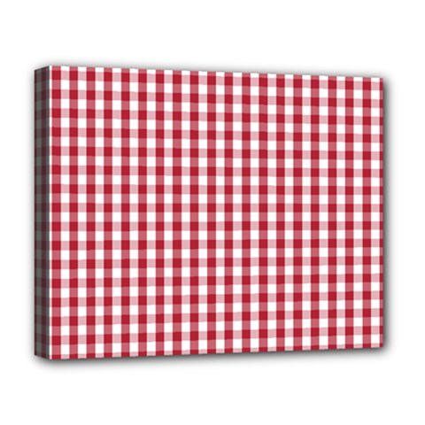 Usa Flag Red Blood Large Gingham Check Deluxe Canvas 20  X 16   by PodArtist