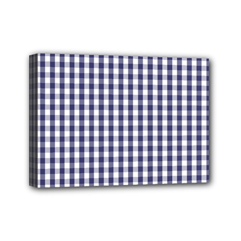 Usa Flag Blue Large Gingham Check Plaid  Mini Canvas 7  X 5  by PodArtist