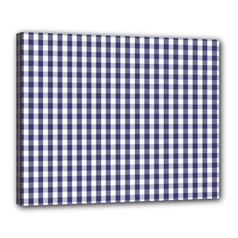 Usa Flag Blue Large Gingham Check Plaid  Canvas 20  X 16  by PodArtist