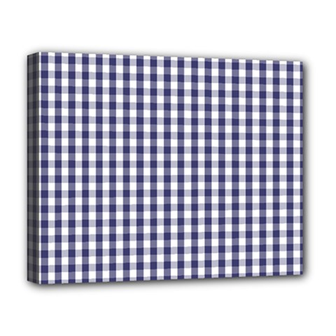 Usa Flag Blue Large Gingham Check Plaid  Deluxe Canvas 20  X 16   by PodArtist