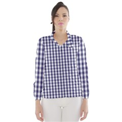 Usa Flag Blue Large Gingham Check Plaid  Wind Breaker (women) by PodArtist