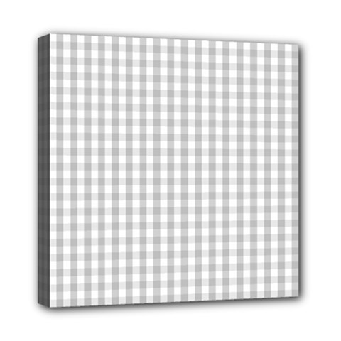Christmas Silver Gingham Check Plaid Mini Canvas 8  X 8  by PodArtist