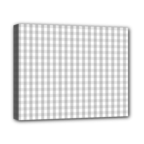 Christmas Silver Gingham Check Plaid Canvas 10  X 8  by PodArtist