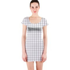 Christmas Silver Gingham Check Plaid Short Sleeve Bodycon Dress by PodArtist