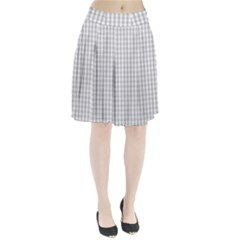 Christmas Silver Gingham Check Plaid Pleated Skirt by PodArtist