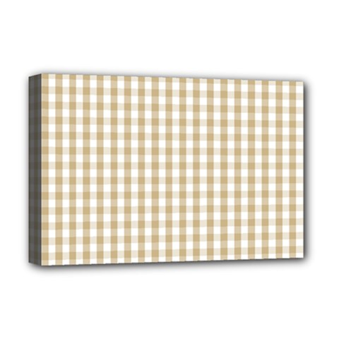 Christmas Gold Large Gingham Check Plaid Pattern Deluxe Canvas 18  X 12   by PodArtist