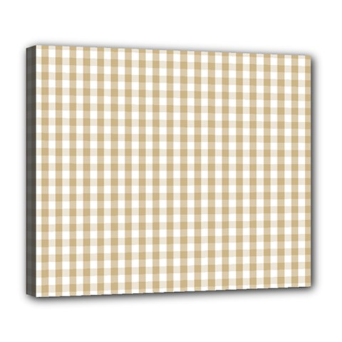 Christmas Gold Large Gingham Check Plaid Pattern Deluxe Canvas 24  X 20   by PodArtist