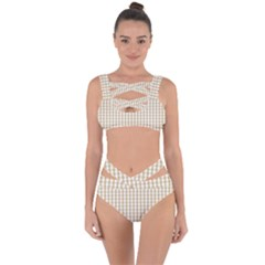 Christmas Gold Large Gingham Check Plaid Pattern Bandaged Up Bikini Set  by PodArtist