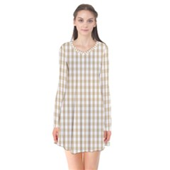 Christmas Gold Large Gingham Check Plaid Pattern Flare Dress by PodArtist