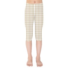 Christmas Gold Large Gingham Check Plaid Pattern Kids  Capri Leggings  by PodArtist
