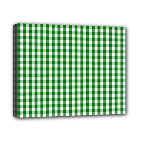 Christmas Green Velvet Large Gingham Check Plaid Pattern Canvas 10  X 8  by PodArtist