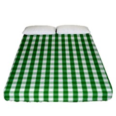 Christmas Green Velvet Large Gingham Check Plaid Pattern Fitted Sheet (queen Size) by PodArtist