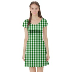 Christmas Green Velvet Large Gingham Check Plaid Pattern Short Sleeve Skater Dress by PodArtist