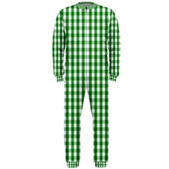 Christmas Green Velvet Large Gingham Check Plaid Pattern Onepiece Jumpsuit (men)  by PodArtist