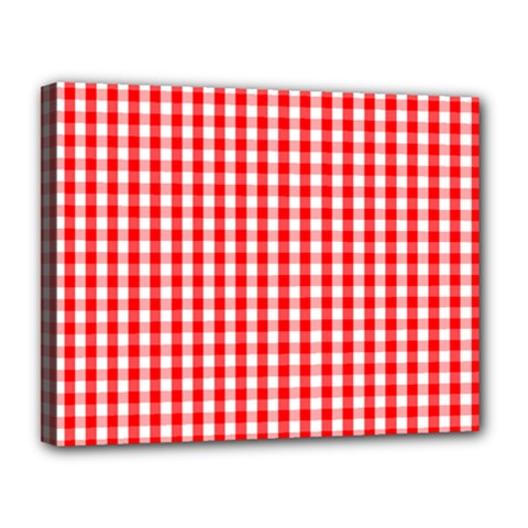 Christmas Red Velvet Large Gingham Check Plaid Pattern Canvas 14  X 11