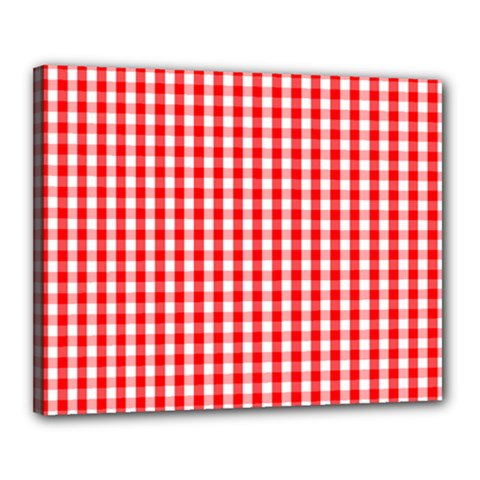 Christmas Red Velvet Large Gingham Check Plaid Pattern Canvas 20  X 16  by PodArtist
