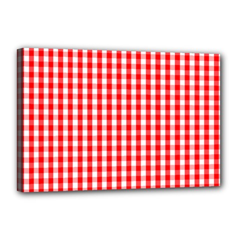 Christmas Red Velvet Large Gingham Check Plaid Pattern Canvas 18  X 12  by PodArtist