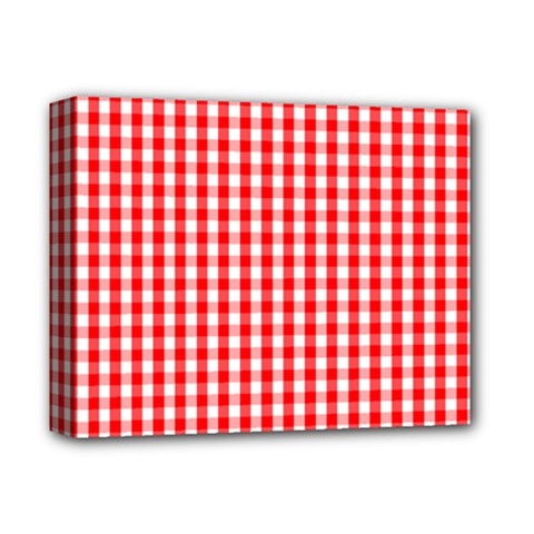 Christmas Red Velvet Large Gingham Check Plaid Pattern Deluxe Canvas 14  X 11  by PodArtist