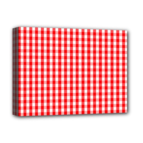 Christmas Red Velvet Large Gingham Check Plaid Pattern Deluxe Canvas 16  X 12   by PodArtist