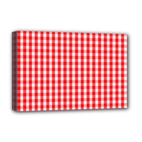Christmas Red Velvet Large Gingham Check Plaid Pattern Deluxe Canvas 18  X 12   by PodArtist