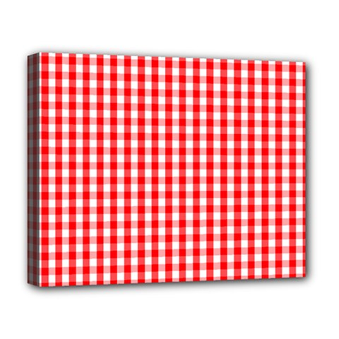 Christmas Red Velvet Large Gingham Check Plaid Pattern Deluxe Canvas 20  X 16   by PodArtist