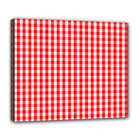 Christmas Red Velvet Large Gingham Check Plaid Pattern Deluxe Canvas 24  X 20   by PodArtist