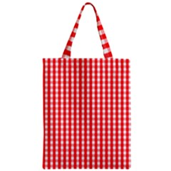 Christmas Red Velvet Large Gingham Check Plaid Pattern Classic Tote Bag by PodArtist