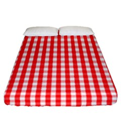 Christmas Red Velvet Large Gingham Check Plaid Pattern Fitted Sheet (queen Size) by PodArtist