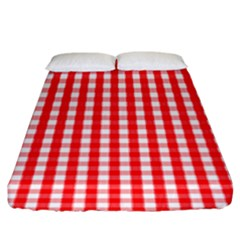 Christmas Red Velvet Large Gingham Check Plaid Pattern Fitted Sheet (king Size)