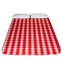 Christmas Red Velvet Large Gingham Check Plaid Pattern Fitted Sheet (King Size) View1