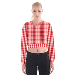 Christmas Red Velvet Large Gingham Check Plaid Pattern Cropped Sweatshirt