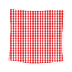 Christmas Red Velvet Large Gingham Check Plaid Pattern Square Tapestry (small) by PodArtist
