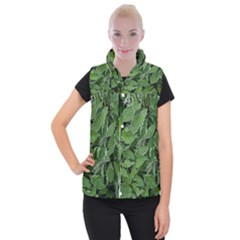 Texture Leaves Light Sun Green Women s Button Up Puffer Vest
