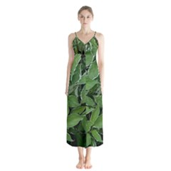 Texture Leaves Light Sun Green Button Up Chiffon Maxi Dress