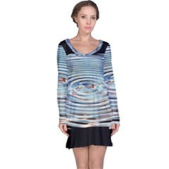 Wave Concentric Waves Circles Water Long Sleeve Nightdress