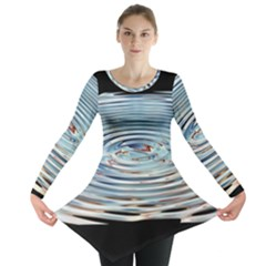 Wave Concentric Waves Circles Water Long Sleeve Tunic